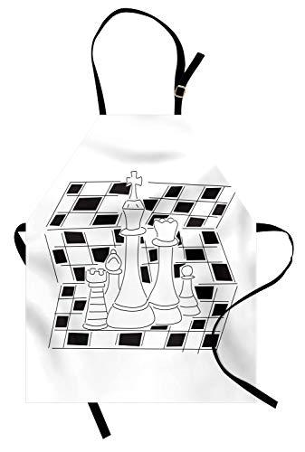 ABAKUHAUS Bordspel Keukenschort, Outline Style Pieces, Unisex Keukenschort met Verstelbare Nekband voor Koken en Tuinieren, Zwart wit