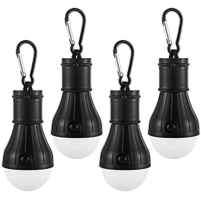 Mosion 4pc Hanging Lantern Camping Light Bulb Pack, Portable Battery-Operated Outdoor Tent Lamps with Carabiner Clip Hangers, High, Low & Flash Settings | No Fan & Solar