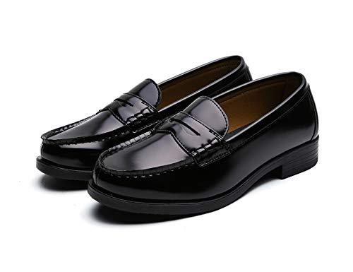 [GIO&GIA] [ジオアンドジア] レディース 学生靴 スクール ローファ 軽量 通勤 通学 撥水加工 軽量 防滑 防臭 衝撃緩衝性 履き心地 (24, ブラック)