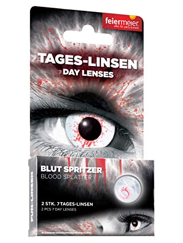 feiermeier® Kontaktlinsen (7-Tageslinsen) ohne Stärke (1 Paar = 2 Stk.) - für Halloween, Fasching & Co. (Blutspritzer)