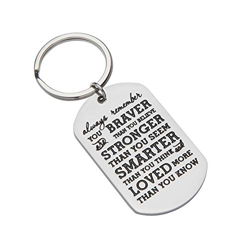 Inspirational Gifts for Teenage Girl Stocking Stuffers for Teens Girls Boys Women Engraved Keychain Always Remember You are Braver Than You Believe Graduation Birthday Gift for Teen Boys Kids
