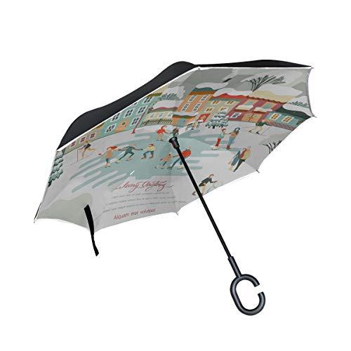 Paraguas inverso invertido de Doble Capa Personas compactas Que patinan en la Pista de Hielo Paraguas Plegable Compacto Paraguas Plegable al Aire Libre Protección UV a Prueba de Viento para la Lluvia