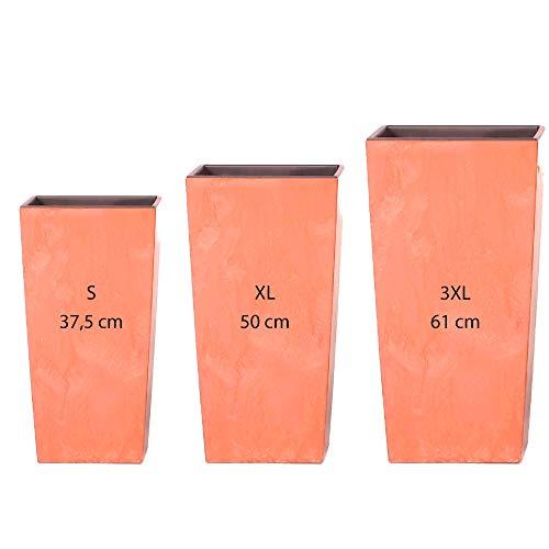 Wellhome Pack 3 macetas Altas Prosperplast (11,4/26,6/49 litros) Urbi Square Effect de plastico en Color Terracota con deposito, Grande