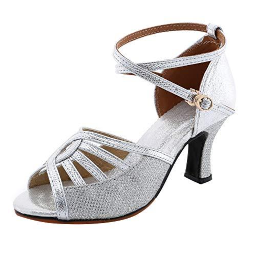 Zapatos de Baile Latino con Brillo para Mujer Sandalias de Baile de Salsa Tacón Alto/Medio Hebilla Calzado de Danza Moda Zapatos Vestir de Fiesta Plata 35-41 riou