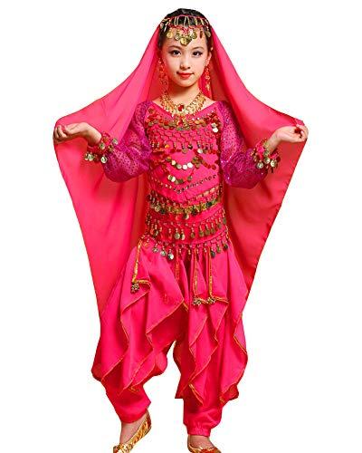 Guiran Kinder Mädchens Damen Faschings-Kostüm Indische Bauchtänzerin Kostüme Rose M Höhengeeignet 101-120CM