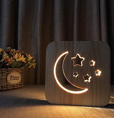 Luz de noche Led de madera 3D Usb Mesa tallada hueca Escritorio Lámpara de noche Grain Friends Trofeo Decoración de cumpleaños Hogar-4