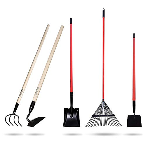 GardenAll Long Handle Garden Tools Set - Include Round Point Shovel /12 Guage Garden Hoe/Steel Rake/Bow Rake/Garden Scraper with Fiberglass Handle-5 Pieces