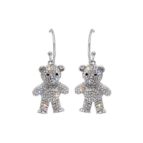 Cute Women's Full drill Sparkle Rhinestone Bear Hoop Earrings - Extra Sparkly and lightweight