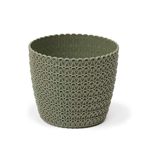 Lamela - Vaso Magnolia Jersey Eco (+30% legno), diametro 16 cm, colore: Verde bosco (verde) | Vaso per fiori e piante | Vanage in plastica + 30% legno