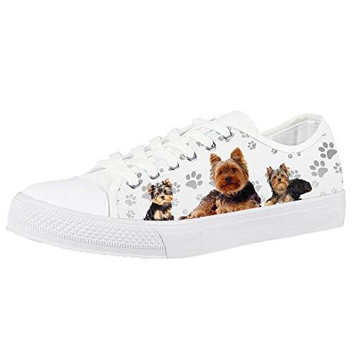 POLERO Lindos Zapatos de Lona para niñas Yorkshire y Perro con Estampado...