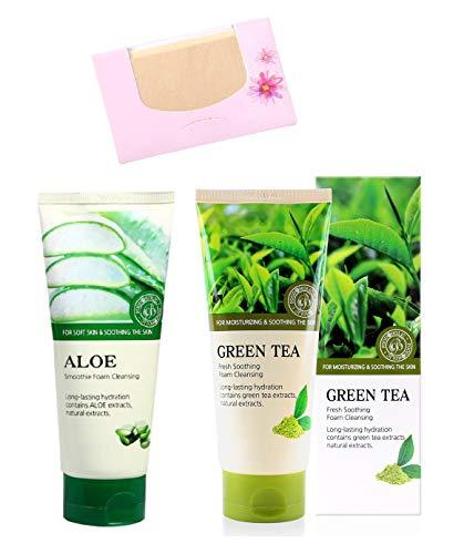 SoltreeBundle 2pcs Smoothie Aloe & Fresh Soothing Green Tea Foam Cleansing 180ml / 6.08oz with SoltreeBundle Natural Hemp Paper 50pcs - Korea Skincare Best