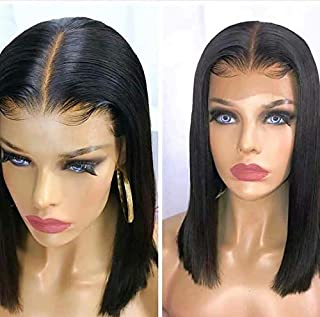 Nobel Hair Fake Scalp Wig 13x6 Lace Front Human Hair Wigs With Elastic Band Invisible Knot Wig Straight Bob Wigs Pre Plucked Deep Part Peruvian Remy Hair 10Inch