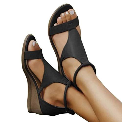 Minetom Frauen Keilabsatz Sandalen Sommer Offene Schuhe Faux Leder Plattform Rom Damen Flip Flops Freizeit Sommerschuhe A Schwarz 39 EU