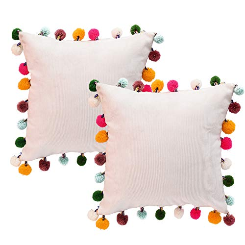 NSSONBEN White Pom Pom Pillow Covers - Soft Velvet Decorative Cushion Cases for Couch Home 16 x 16 Inch Set of 2 (White)