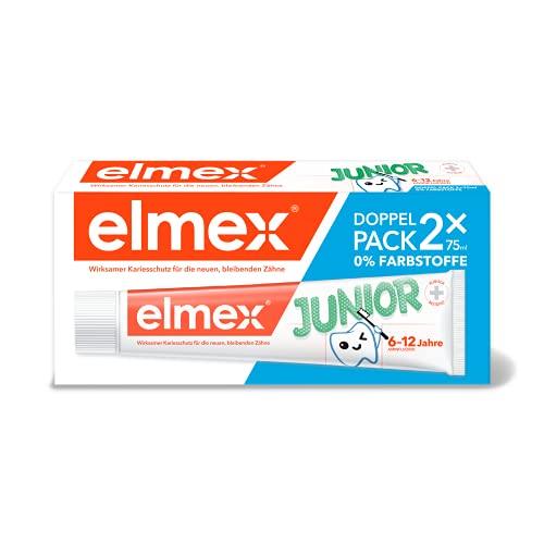 ELMEX Zahnpasta JUNIOR, Doppelpack (2 x 75 ml) - Zahncreme für Kinder von 6-12 Jahren mit mildem Geschmack
