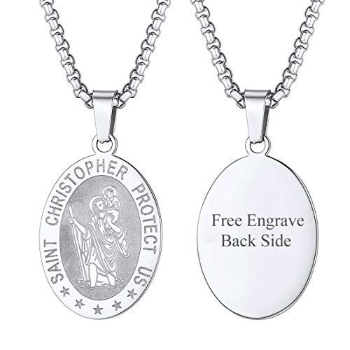 U7 Jewelry Patron Pewter Travel Pendant on 22 Inch Stainless Steel Box Chain Custom Engraved Oval St. Christopher Medal Necklace for Men Women