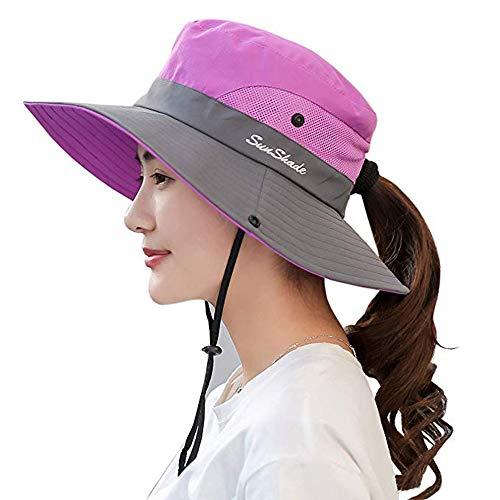 Wennmole Mujer Plegable Sombrero de Sol Gorro de Protección UV ala Ancha de Malla Sombreros de Pesca al Aire Libre (Morado)