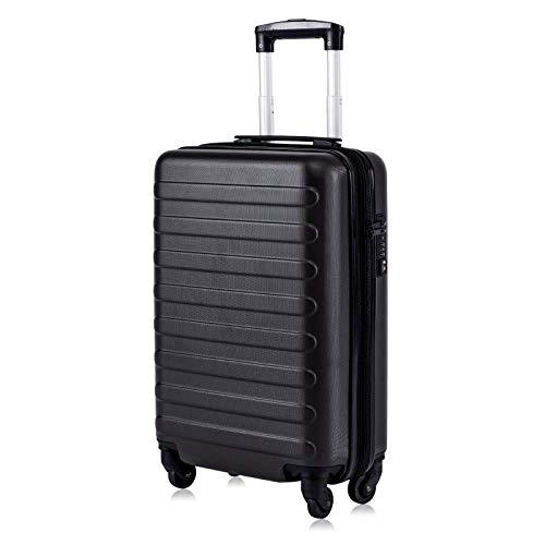 Toctoto Bagaglio a Mano Espandibile con Lucchetto TSA (20' 41LT 55x35x20cm), Adatto Per Voli Low Cost Bagaglio Da Cabina Ryanair, Vueling, Wizz Air (20'(55cm-41L)-Nero)