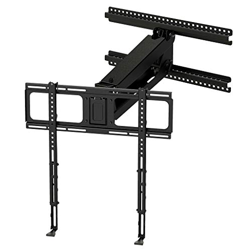 MantelMount MM340 Above Fireplace Pull Down TV Mount – with Patented auto-straightening, auto-stabilization, 2 Gas Pistons, Adjustable Motion Stops, Wire tabs & Safety Pull-Down Handles