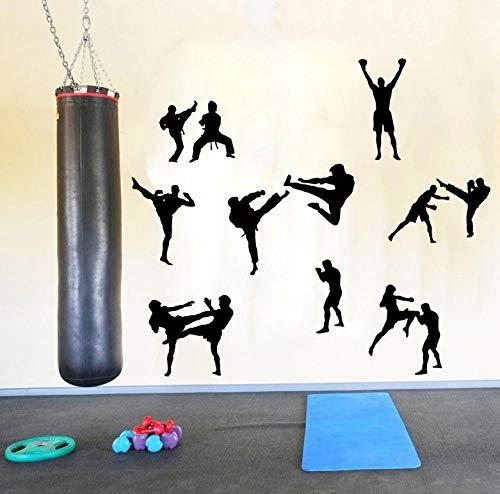 Wandstickers Martial Karate Taekwondo Wandtattoo Jungenzimmer Kinderzimmer Boxen Judo Sport Aufkleber Schlafzimmer Fitnessstudio Workout Vinyl 56X60cm