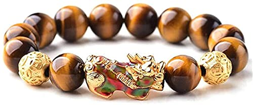 Pulseras con cuentas de piedras preciosas premium Feng shui riqueza pulsera amarillo tigre ojo pulsera cambio color pixiu / piyao pulsera corazón sutra buddha buddha brazalete atrae buena suerte diner