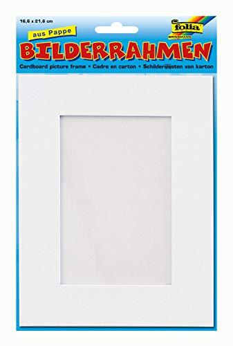 folia 2333 - Bilderrahmen aus Pappe, rechteckig, ca. 16,6 x 21,6 cm, blanko weiß - zum Selbstgestalten
