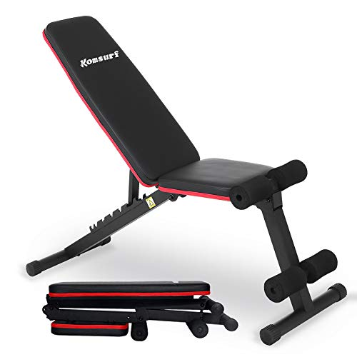 KOMSURF Adjustable Weight Bench Press Foldable Workout Bench for Home Gym Full Body Workout Strength Training Exercise Equipment Body Gym System