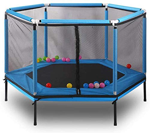 xmwmindoor Children 5FT Hexagonal Trampoline with Safety Enclosure net and Jump Pads, Ball Pool Trampoline Mini Best Birthday Gift for Boys and Girls,Blue
