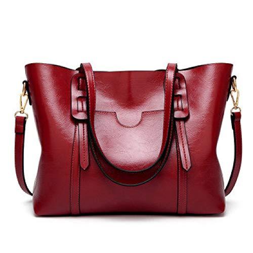 XYAZ Bolso de hombro de cuero de cera de aceite de moda para mujer bolso de mujer simple,vino tinto