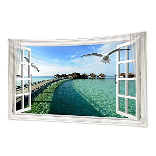 perfk Tapiz de Playa para Colgar en La Pared, Tapiz de Pared de Cielo Azul, Tapiz de Surf, Tapiz Bohemio, Arte para Colgar en La Pared, Decoración - 150x150cm, tal como se describe