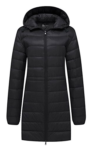 Wantdo Women's Hooded Packable Ultra Light Weight Down Coat, Black, Medium