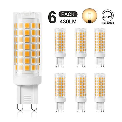 DiCUNO G9 LED Lampe 4W, Ersatz für 40W Halogen Lampen, 220-240V, Dimmbar, Warmweiß 3000K, 430 LM, Kein Flackern (6er-Pack)
