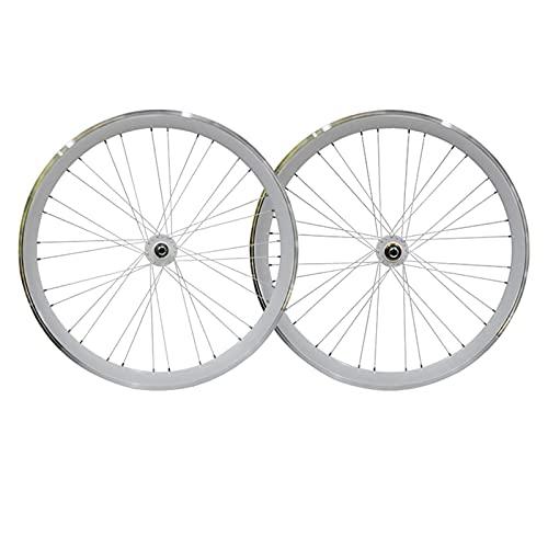 XCZZYC Juego de Ruedas de Bicicleta de Engranaje Fijo 700C Ruedas Delanteras y traseras de Bicicleta Fixie de 40 mm Aleación de Aluminio V Freno de Marcha atrás Freno de Marcha atrás (Color: Blanco
