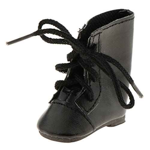 MagiDeal Zapatos de Moda con Cordones Botas para 14 Pulgadas Americana Chica Wellie Wisher Muñeca - Negro