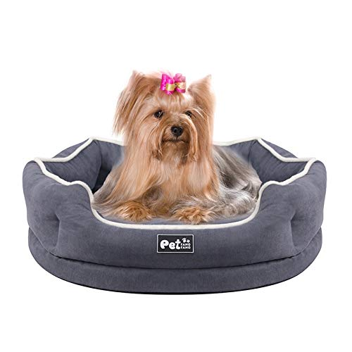 Grey Medium Memory Foam Bolter Dog Bed Round Pet Couch Sofa Cushion Cuddler with Removable Washable Cover
