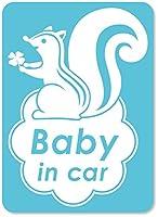 imoninn BABY in car ステッカー 【マグネットタイプ】 No.36 リスさん (水色)