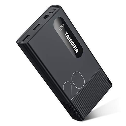 TAMOWA Power Bank 20000mAh Batería Externa con Pantalla LCD Digital, Cargador Portátil Móvil con 2 Entradas & 2 Salidas para iPhone, iPad, Samsung, Huawei, Xiaomi, Smartphones y más, Negro