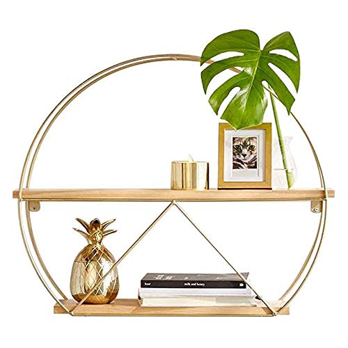 Shelves Bookcase Storage Rack Solid Wood Iron Wall Hanging Round Shelf Wall Hanging Flower Wall Rack Simple Floor 2 Layer,60 * 15 * 48cm,Colour Name:80*15*68cm Flower Pot Rack ( Color : 100*15*88cm )