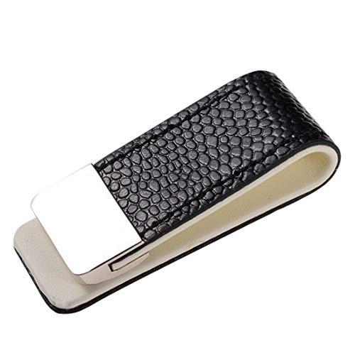 Fa.Wessel - Fermasoldi in pelle con acciaio inox, elegante e raffinato per uomini con stile e di classe, clip per banconote, bianco/nero., mm,