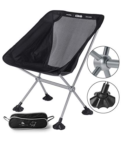 iClimb キャンプ 椅子 超軽量 アウトドア チェア コンパクト 椅子 折りたたみ 7075アルミニウム合金 キャンプ チェア 耐荷重145kg アウトドア 椅子 (ブラック)
