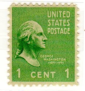 Postage Stamps United States. One Single 1 Cent Green George Washington, Presidential Issue Stamp, Dated 1938-54, Scott #804.