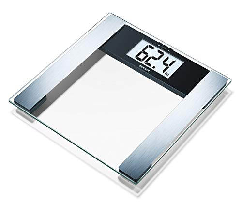 Beurer BG-17 Báscula Diagnóstica de Cristal, Pantalla LCD Extragrande 40 mm, Indicador Grasa y Agua Corporal, Masa Ósea y Muscular, negro