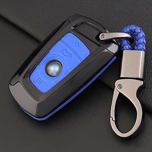 ontto Fit to Car Key Cover Koolstofvezel beschermende sleutelhanger Case voor BMW X1 X5 X5M X6 X6M Remote Protector Case M Zwart en blauw