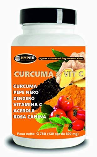Curcuma e Piperina Plus Vitamina C Zenzero Acerola 130 Compresse Antiossidante Alto Dosaggio Estratto Curcumina Potente Veloce Brucia Grassi Antinfiammatorio Vegan e Senza Lattosio