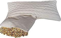 Organiczny komfort poduszki orkiszowej 40 x 80 cm pyłoszczelna bawełniana poszewka na poduszkę ( wlot poduszki) - z organicznym orkiszem futra / orkiszu orkiszowego wypełnienia orpły i zdejmowaną, zmywalną bawełną z zamkiem błyskawicznym