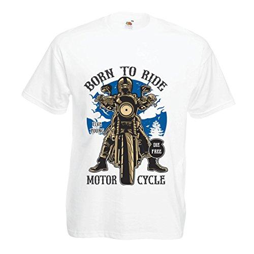 Camisetas Hombre Live Young - Die Free - Nacido para Montar en Moto, Ideas de Regalos para Ciclistas, Lemas inspiradores