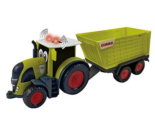 Happy People L&S 34541 Claas Kids Axion 870 Traktor + Anhänger Cargos 750 - mit Licht und Sound, grün