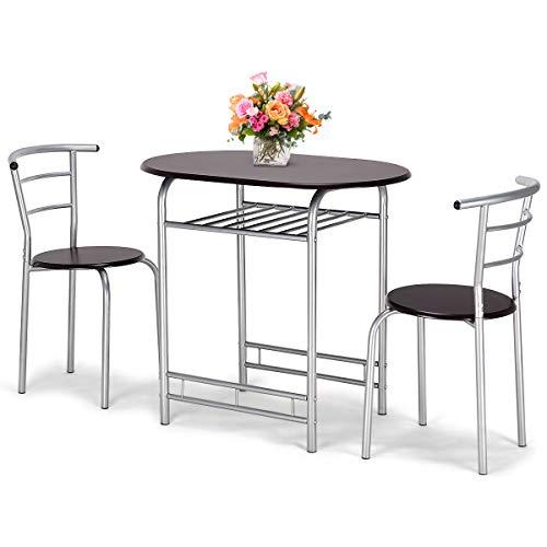 COSTWAY 3tlg. Küchenbar, Sitzgruppe Küche, Esstisch mit 2 Stühlen, Balkonset (braun)