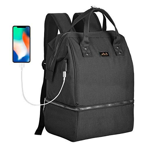 Viedouce stijlvolle compacte rugzakken, multifunctionele waterdichte Oxford-koeltassen en -zakken, maaltijdzak, reisluiertas, met USB-oplaadpoort en 2 verstelbare banden (Groot zwart)