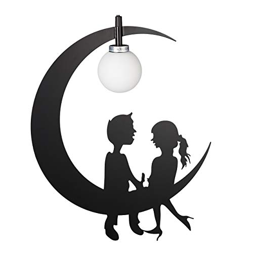 Relaxdays Kinderzimmerlampe, Mond mit Pärchen, Schlaf-/ Kinderzimmer, G9, Metall, Opalglas, HBT 146 x 35 x 8 cm, schwarz